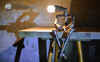 Изготовление оригинальных ламп и светильников из водопроводных труб