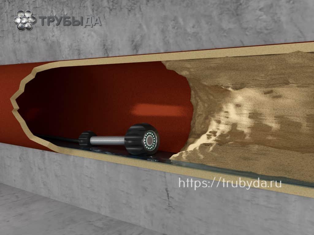 Камера в канализационной трубе перед препятствием